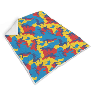 Red Yellow And Blue Camouflage Print Sherpa Blanket GearFrost