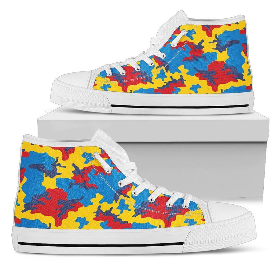 Red Yellow And Blue Camouflage Print Women's High Top Shoes GearFrost
