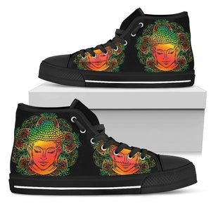 Reggae Buddha Print Men's High Top Shoes GearFrost