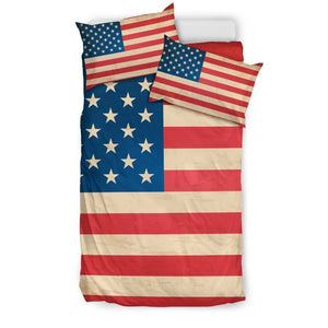 Retro American Flag Patriotic Duvet Cover Bedding Set GearFrost