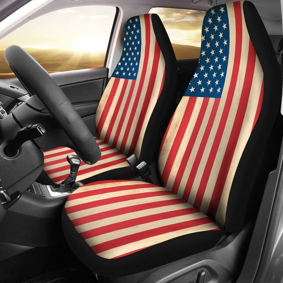 Retro American Flag Patriotic Universal Fit Car Seat Covers GearFrost