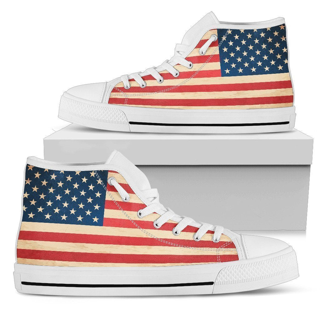 d38dbd55be3 Retro American Flag Patriotic Women s High Top Shoes – GearFrost