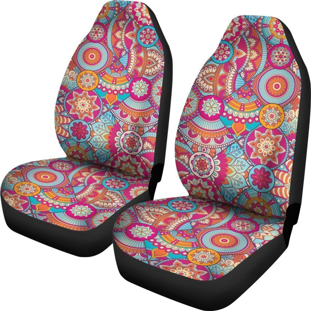 Retro Bohemian Mandala Pattern Print Universal Fit Car Seat Covers GearFrost