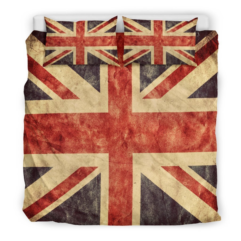 Retro Union Jack British Flag Print Duvet Cover Bedding Set GearFrost