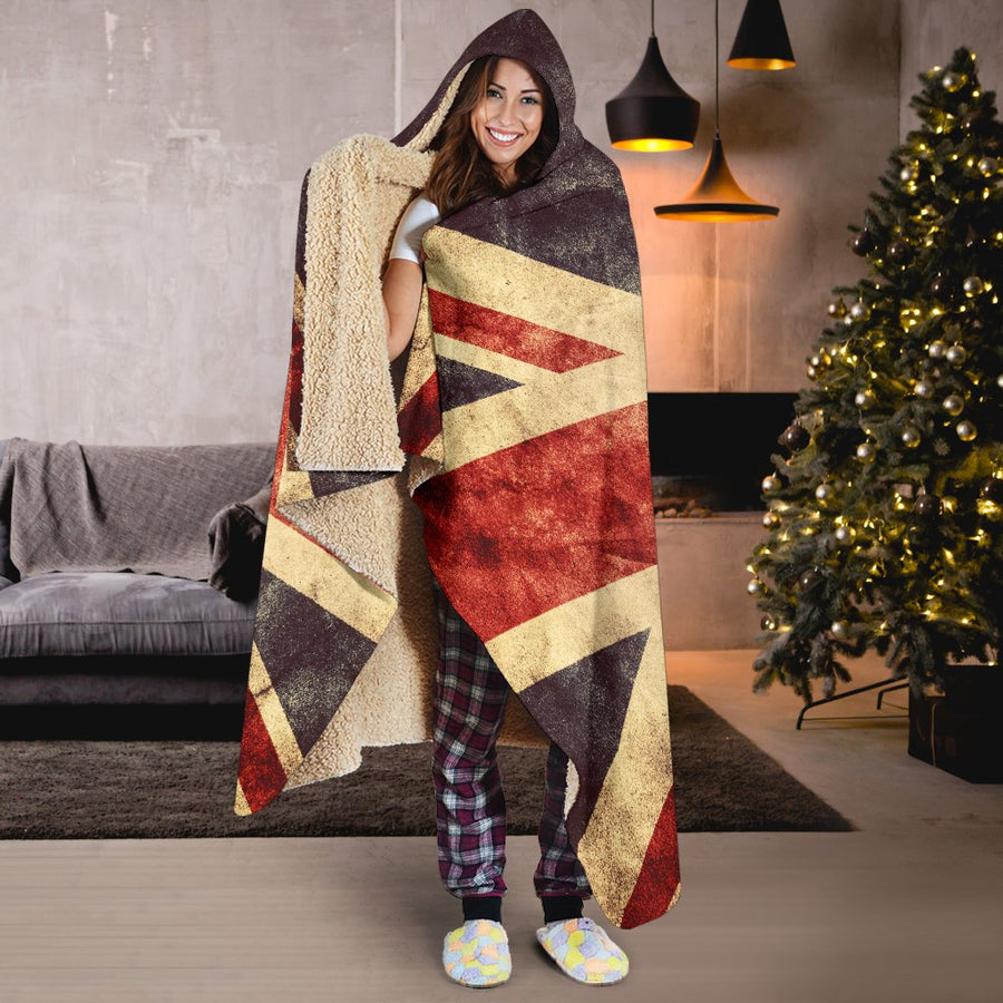 Retro Union Jack British Flag Print Hooded Blanket GearFrost