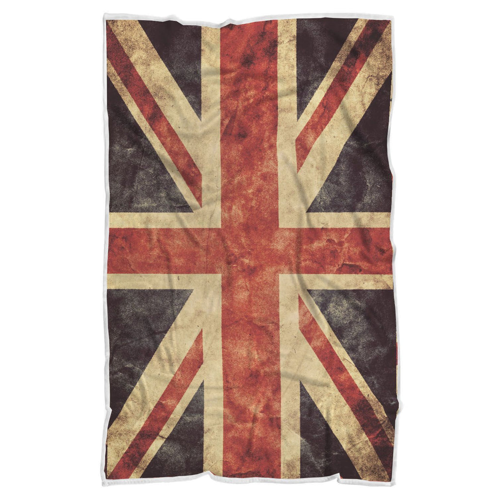 Retro Union Jack British Flag Print Sherpa Blanket GearFrost