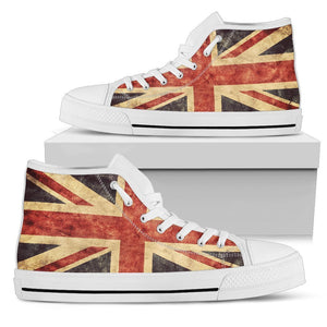 Retro Union Jack British Flag Print Women's High Top Shoes GearFrost