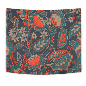 Retro Vintage Bohemian Floral Print Wall Tapestry GearFrost