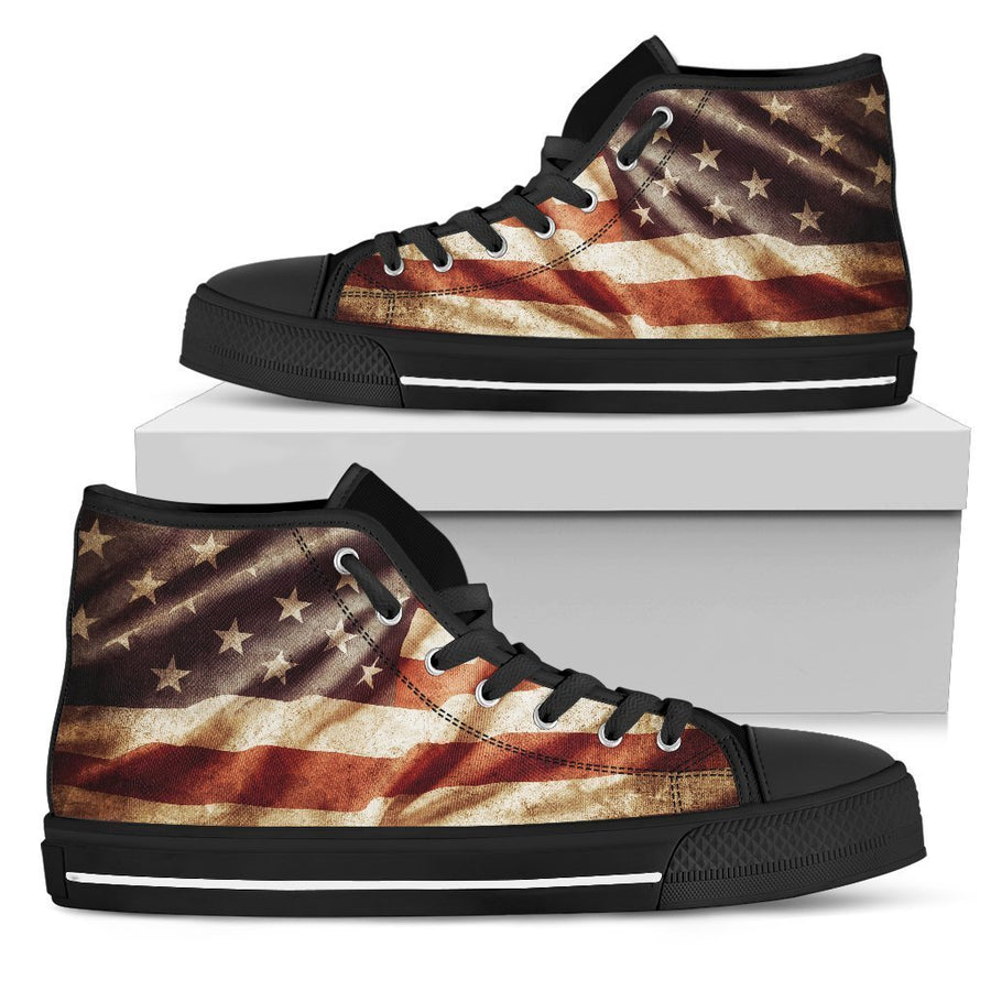Retro Wrinkled American Flag Patriotic Men's High Top Shoes GearFrost
