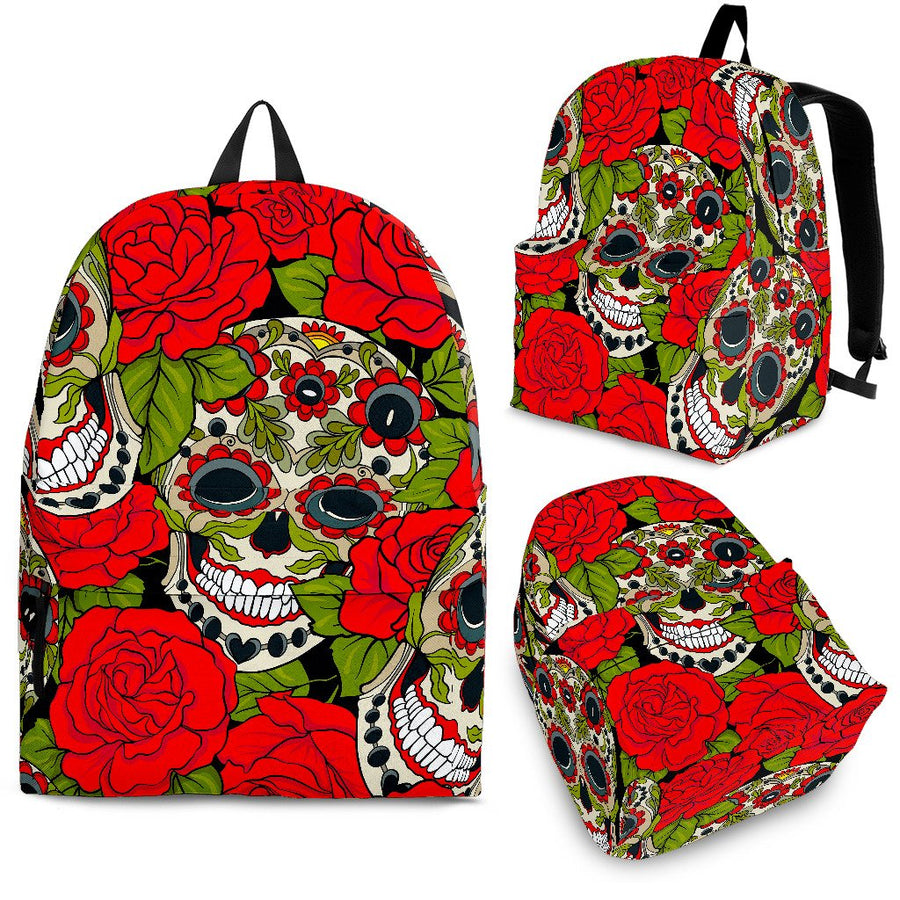 Rose Floral Sugar Skull Pattern Print Backpack GearFrost