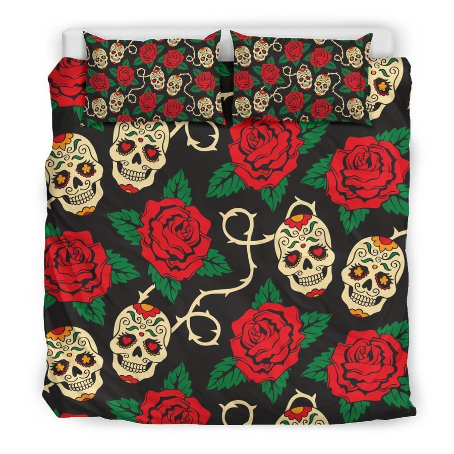 Rose Flower Sugar Skull Pattern Print Duvet Cover Bedding Set GearFrost