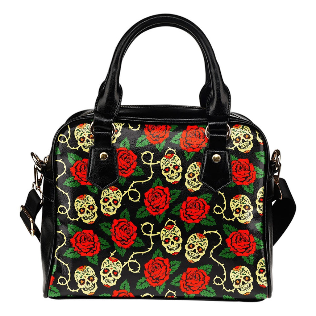 Rose Flower Sugar Skull Pattern Print Shoulder Handbag GearFrost