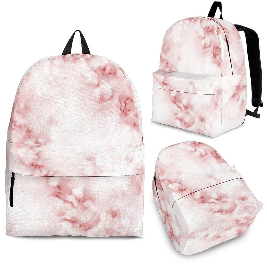 Rose Pink Marble Print Backpack GearFrost