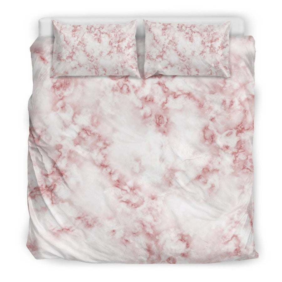 Rose Pink Marble Print Duvet Cover Bedding Set GearFrost
