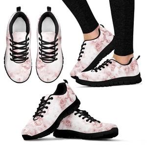 Rose Pink Marble Print Women's Sneakers GearFrost