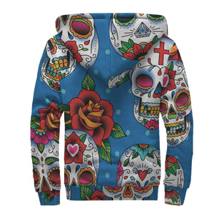 Rose Sugar Skull Pattern Print Sherpa Lined Fleece Hoodie GearFrost