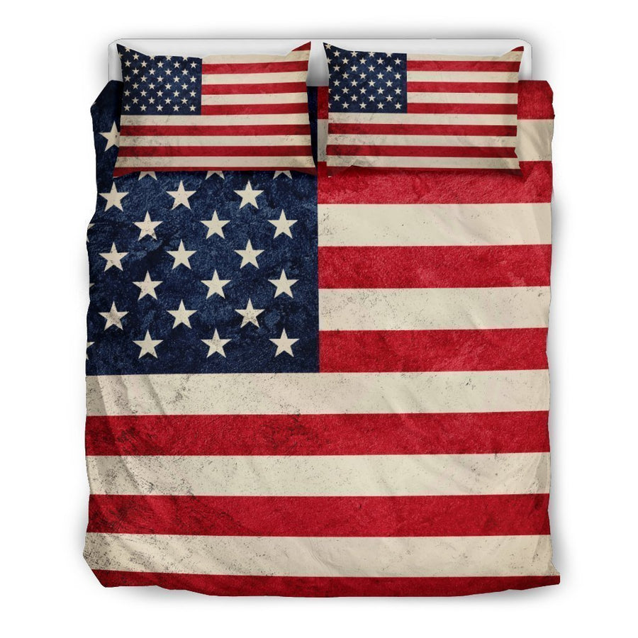 Rough American Flag Patriotic Duvet Cover Bedding Set GearFrost
