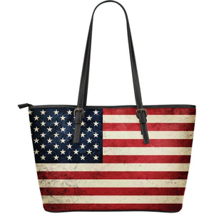 Rough American Flag Patriotic Leather Tote Bag GearFrost
