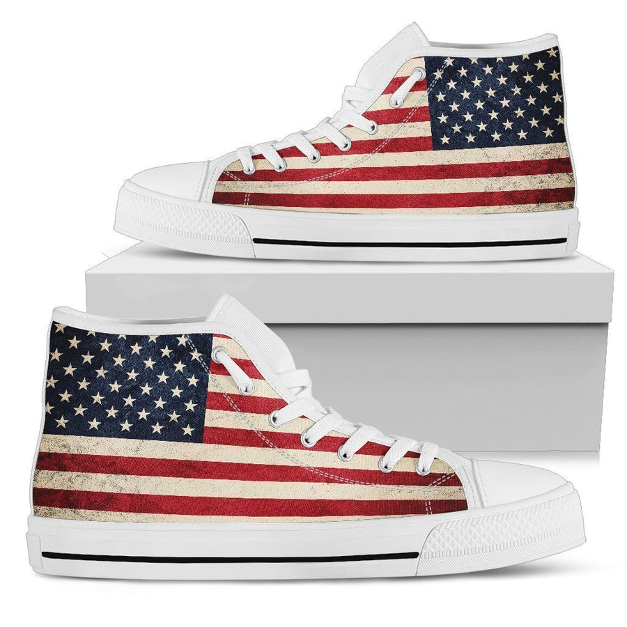Rough American Flag Patriotic Men's High Top Shoes GearFrost