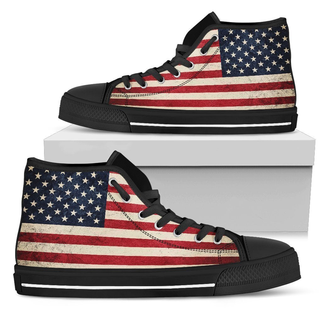 Rough American Flag Patriotic Women's High Top Shoes GearFrost