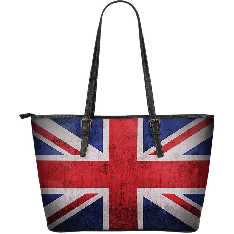 Rough Union Jack British Flag Print Leather Tote Bag GearFrost