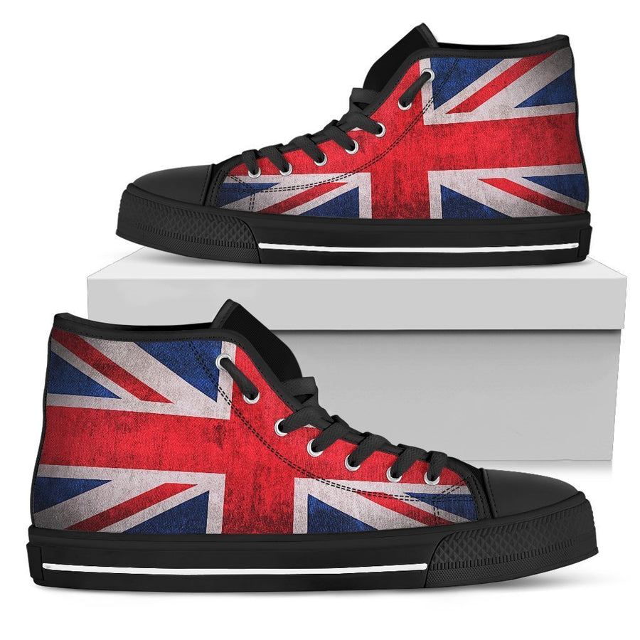 Rough Union Jack British Flag Print Men's High Top Shoes GearFrost
