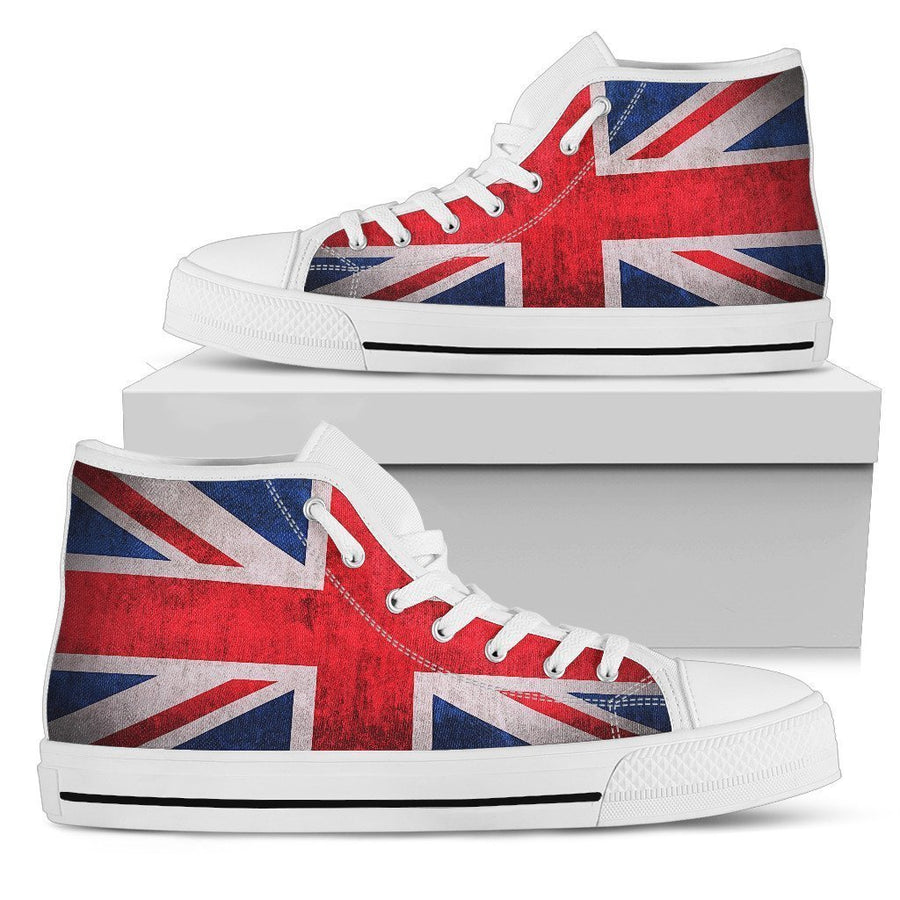 Rough Union Jack British Flag Print Women's High Top Shoes GearFrost