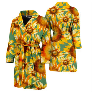 Sage Watercolor Sunflower Pattern Print Men's Bathrobe GearFrost