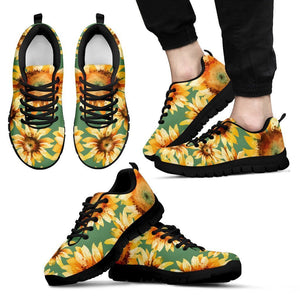 Sage Watercolor Sunflower Pattern Print Men's Sneakers GearFrost