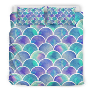 Sea Blue Mermaid Scales Pattern Print Duvet Cover Bedding Set GearFrost