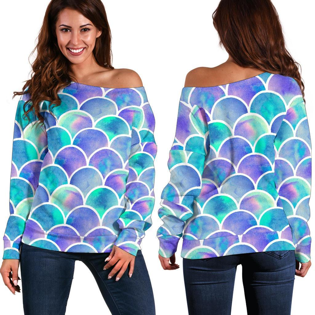 Sea Blue Mermaid Scales Pattern Print Off Shoulder Sweatshirt GearFrost
