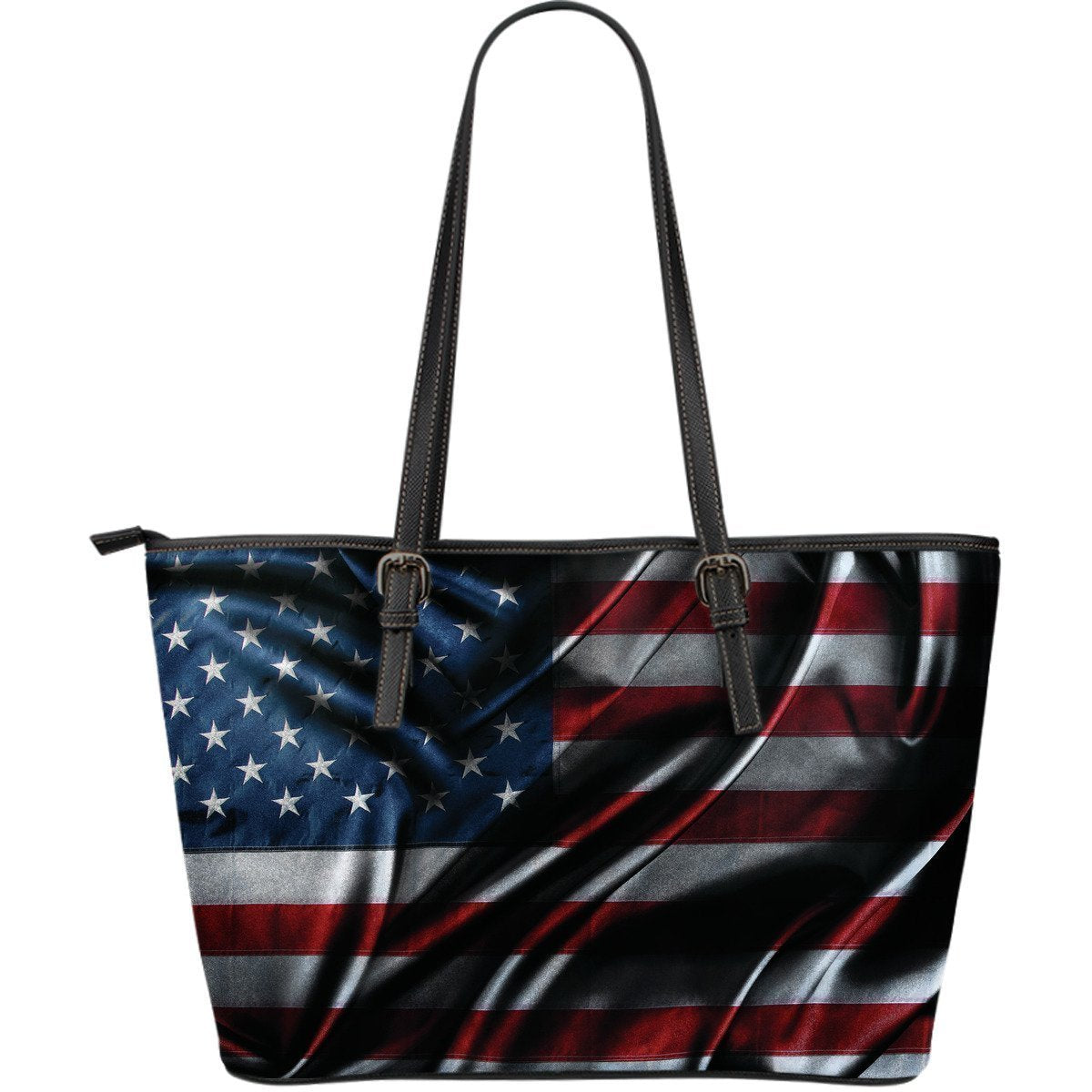 Silky American Flag Patriotic Leather Tote Bag GearFrost