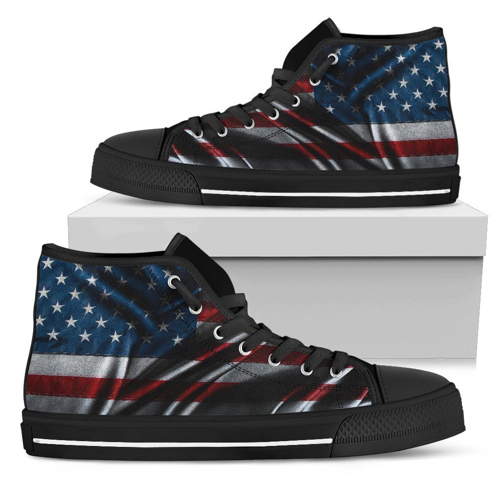 Silky American Flag Patriotic Men's High Top Shoes GearFrost