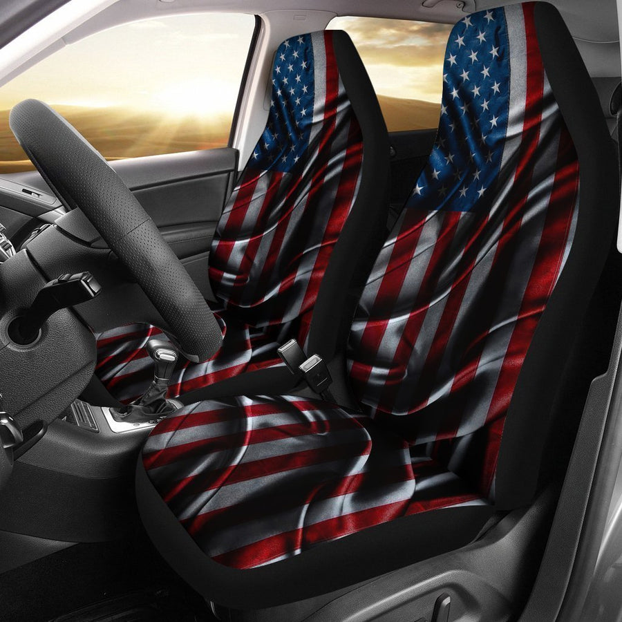 Silky American Flag Patriotic Universal Fit Car Seat Covers GearFrost