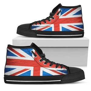 Silky Union Jack British Flag Print Women's High Top Shoes GearFrost
