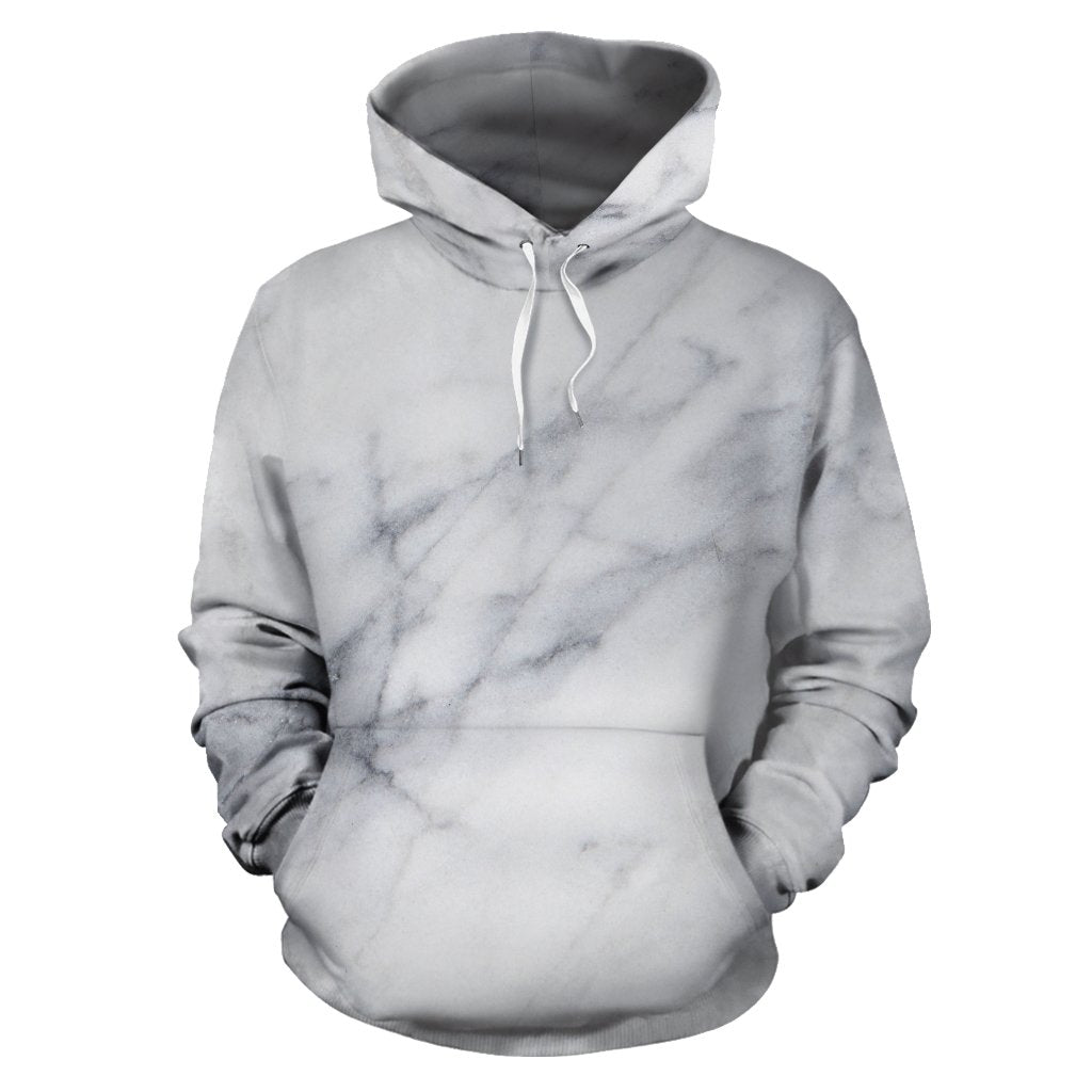 Smoke Grey Marble Print Pullover Hoodie GearFrost