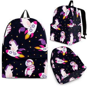 Space Astronaut Unicorn Pattern Print Backpack GearFrost