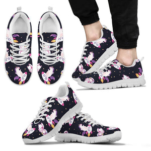 Space Astronaut Unicorn Pattern Print Men's Sneakers GearFrost