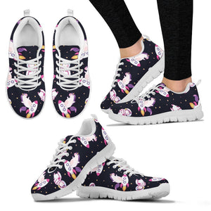 Space Astronaut Unicorn Pattern Print Women's Sneakers GearFrost