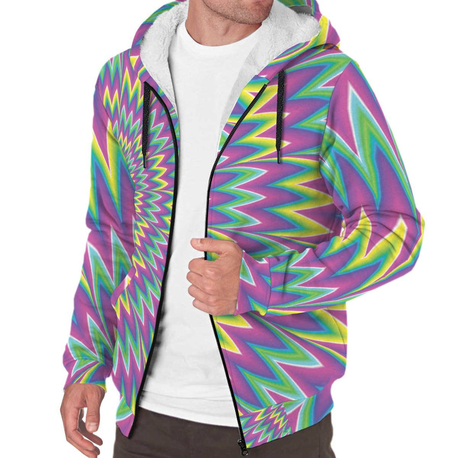 Spiky Spiral Moving Optical Illusion Sherpa Lined Fleece Hoodie GearFrost