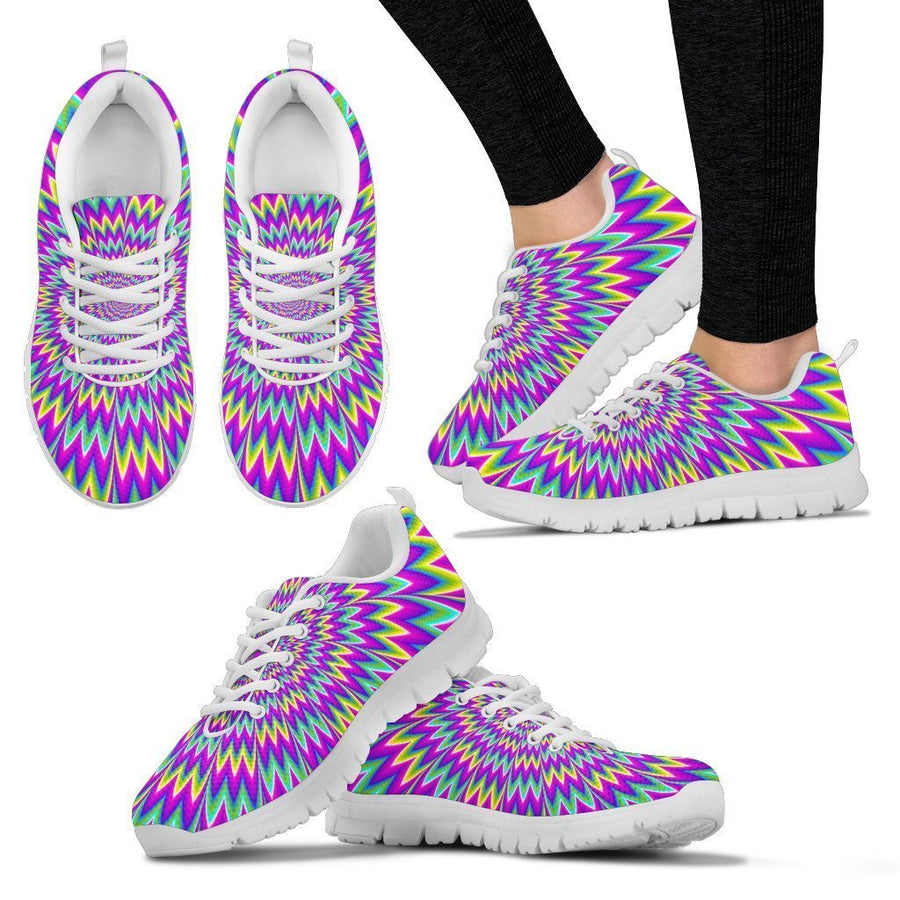 Spiky Spiral Moving Optical Illusion Women's Sneakers GearFrost
