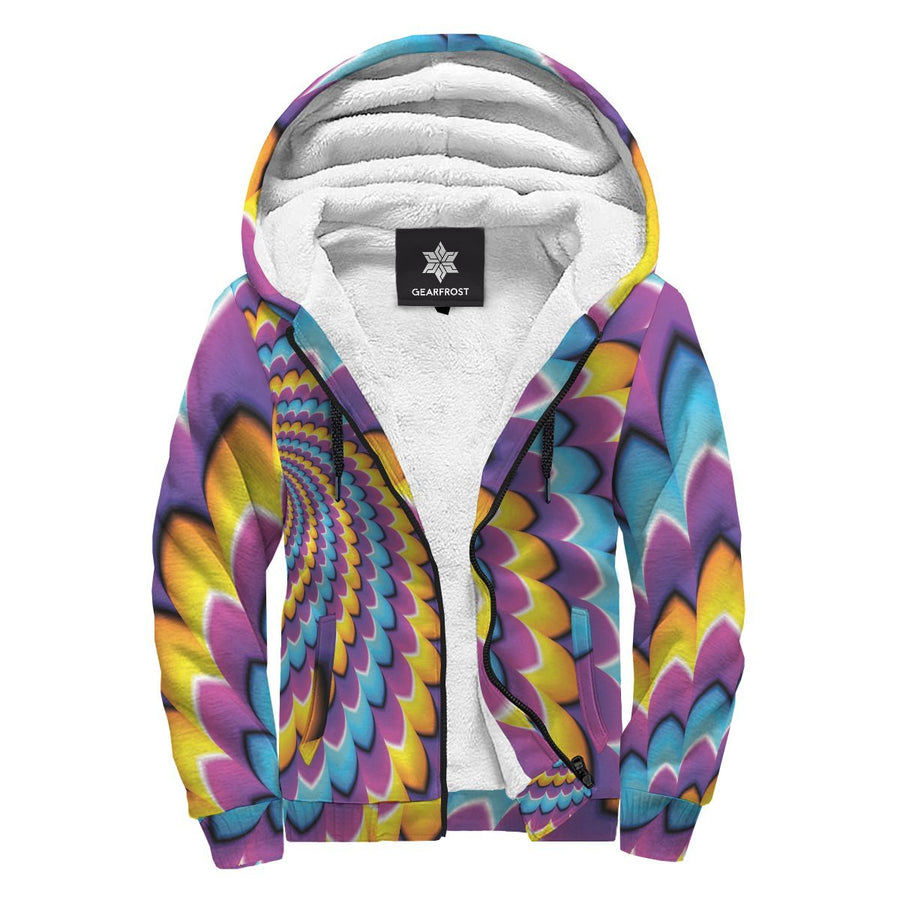 Spiral Colors Moving Optical Illusion Sherpa Lined Fleece Hoodie GearFrost