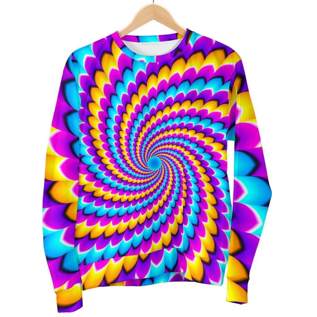 Spiral Colors Moving Optical Illusion Women's Crewneck Sweatshirt GearFrost