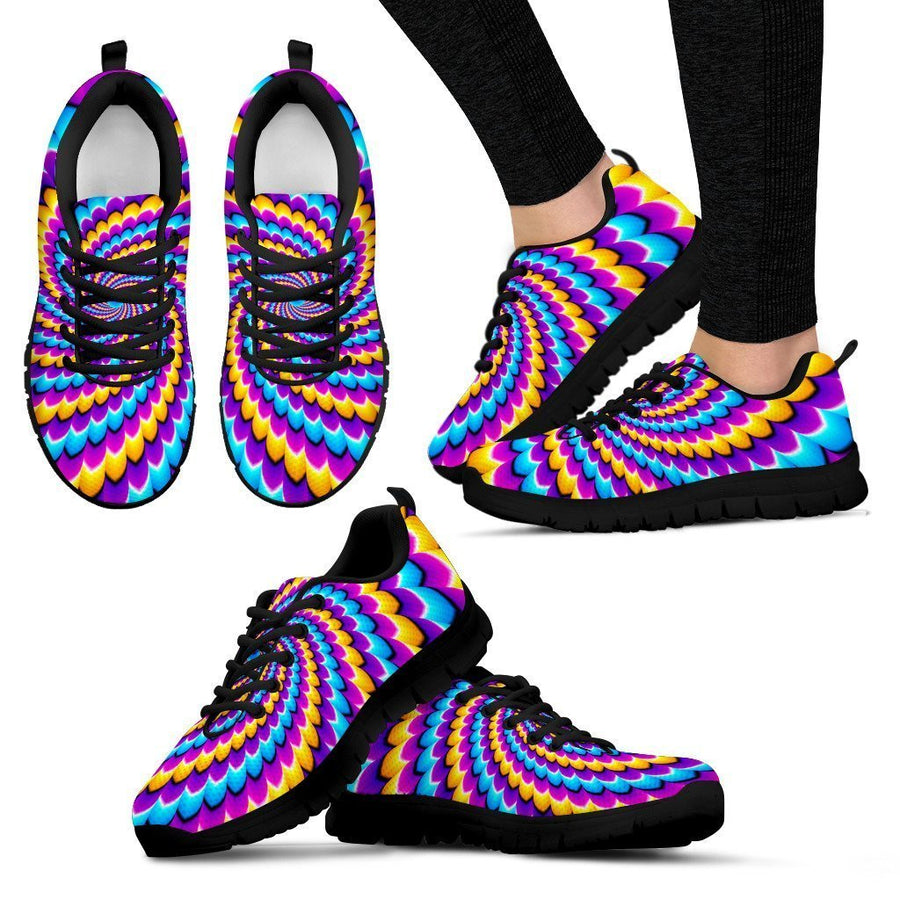 Spiral Colors Moving Optical Illusion Women's Sneakers GearFrost