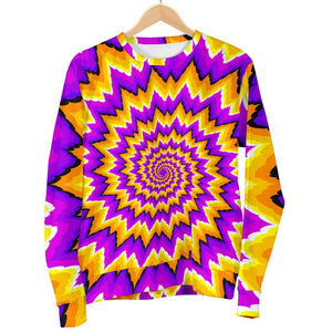 Spiral Expansion Moving Optical Illusion Women's Crewneck Sweatshirt GearFrost