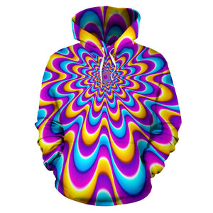 Splashing Colors Moving Optical Illusion Pullover Hoodie GearFrost