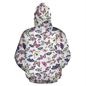 Spring Butterfly Pattern Print Pullover Hoodie GearFrost