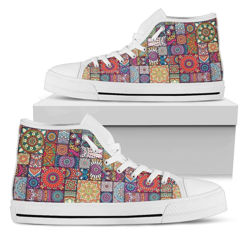 Square Bohemian Mandala Patchwork Print Men's High Top Shoes GearFrost