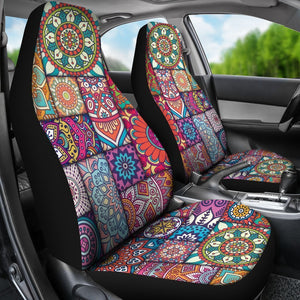 Square Bohemian Mandala Patchwork Print Universal Fit Car Seat Covers GearFrost