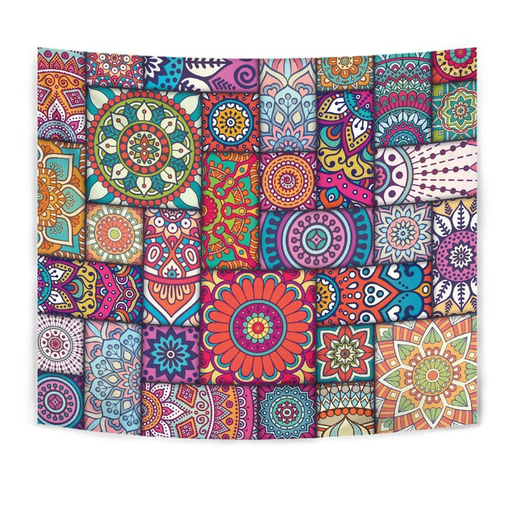 Square Bohemian Mandala Patchwork Print Wall Tapestry GearFrost
